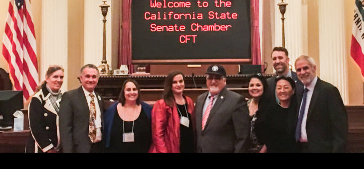 CFT officers and activists with Senator Portantino on Senate floor - CFT Lobby Day 1/30/20187