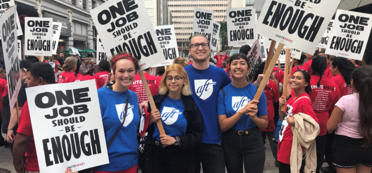 AFT Student Interns Participate in Labor Day Protest at the Marriott - 9/3/2018
