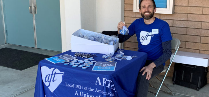 Judd Curran leads the AFT cookie distribution effort at Grossmont College - 3/18/2019