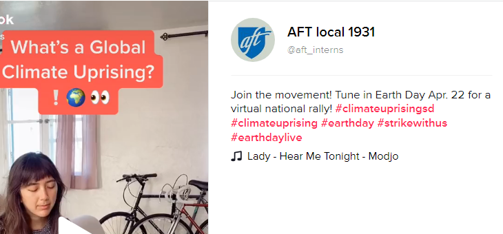 Click Above and Join the AFT Student Interns on Earth Day 4/22/2020 in a Climate Change Uprising!